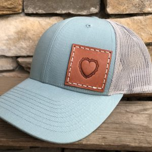 Smoke Blue/Aluminum Richardson Low Profile Trucker Hat - R115 - Pictured here with 2x2 Chestnut patch and heart