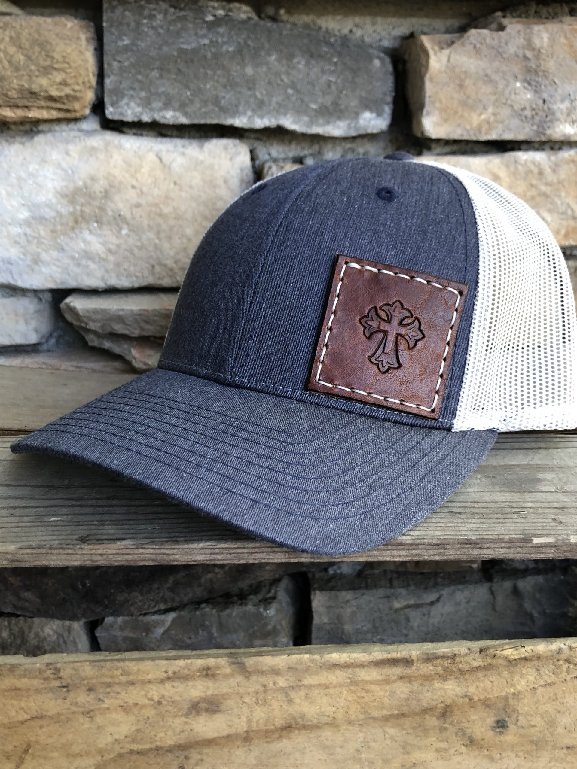Heather Navy/Silver - Richardson Low Profile Trucker Hat R115 - pictured here with 2x2 medium brown patch, white thread and cross