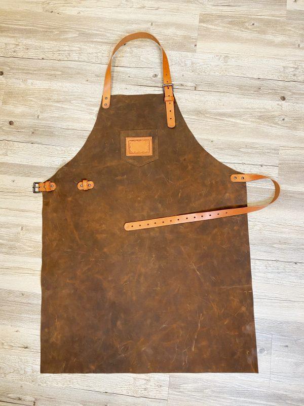 Dark Brown Apron with Chestnut Straps